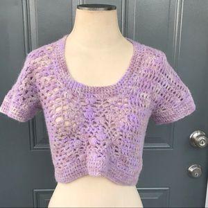 Anthropologie Augden Crochet Crop Alpaca Sweater
